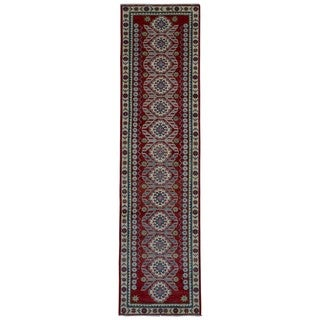Fine Rug Collection Handmade Kazak Beige Wool Oriental Runner (2'9 x 11')