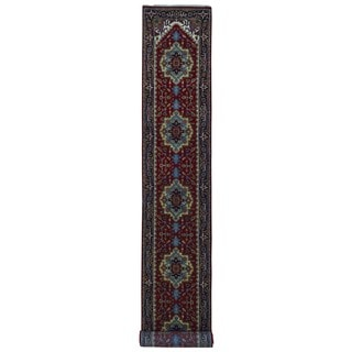 Fine Rug Collection Handmade Serapi Black Wool Oriental Runner (2'6 x 16')