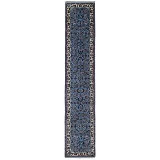 FineRugCollection Hand Made Kashan Blue Wool Oriental Rug (2'8 x 12'10)