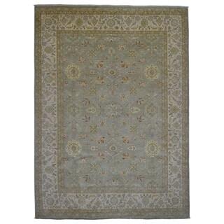 Fine Rug Collection Handmade Fine Peshawar Green Wool Oriental Rug (9' x 12'2)