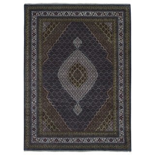 Fine Rug Collection Handmade Fine Mahi Tabriz Olive Wool and Silk Oriental Rug (9' x 12')