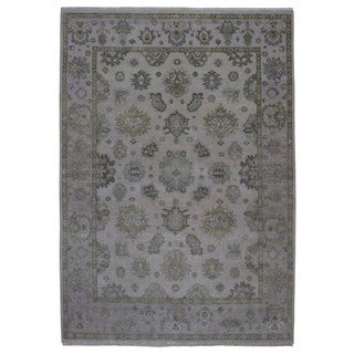 Fine Rug Collection Handmade Oushak Grey Wool Oriental Rug (8'10 x 12'1)