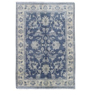 FineRugCollection Hand Made Oushak Blue Wool Oriental Rug (6'1 x 8'10)