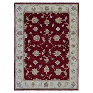 FineRugCollection Hand Made Agra Red Wool Oriental Rug (6'8 x 9'6)