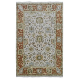 FineRugCollection Hand Made Oushak Beige Wool Oriental Rug (5'7 x 8'6)