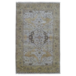 FineRugCollection Hand Made Oushak Grey Wool Oriental Rug (5'7 x 8'10)