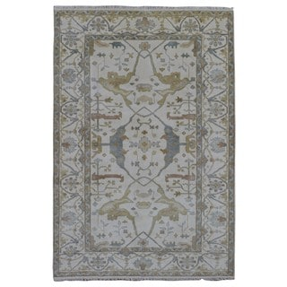 FineRugCollection Hand Made Oushak Beige Wool Oriental Rug (6'2 x 9')