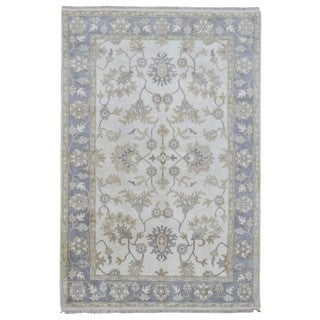 FineRugCollection Hand Made Oushak Beige Wool Oriental Rug (6'1 x 8'4)