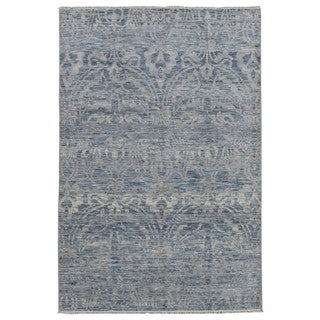 FineRugCollection Hand Made Fine Oushak Turkish Knot Blue Wool Oriental Rug (6'1 x 9')