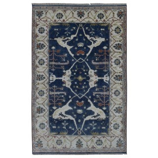 FineRugCollection Hand Made Fine Oushak Blue Wool Oriental Rug (6'9 x 9'6)