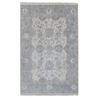 FineRugCollection Hand Made Oushak Blue Wool Oriental Rug (5'8 x 8'9)