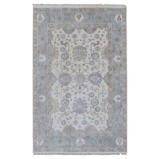 FineRugCollection Handmade Oushak Blue Wool Oriental Rug (5'8 x 8'9)