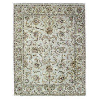 FineRugCollection Hand Knotted Fine Kashan Beige Wool Oriental Rug (7'11 x 10'1)