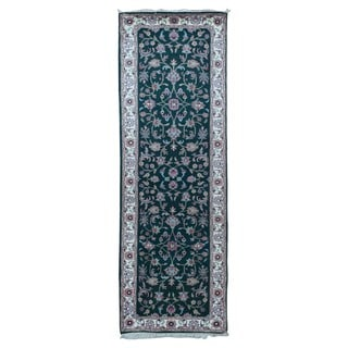 Fine Rug Collection Hand-knotted Kashan Green Wool Oriental Runner (2'7 x 8')