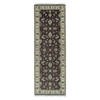 FineRugCollection Hand-knotted Peshawar Brown Wool Oriental Runner (2'8 x 7'9)