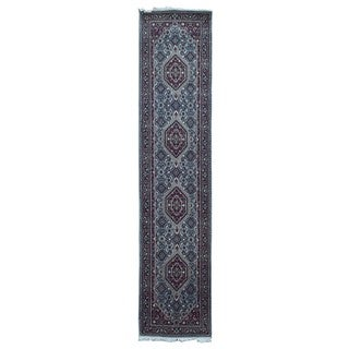 Fine Rug Collection Hand-knotted Bijar Blue Wool Oriental Runner (2'8 x 11'10)