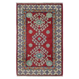 FineRugCollection Hand Knotted Pakistan Kazak Red Wool Oriental Rug (2' x 3')