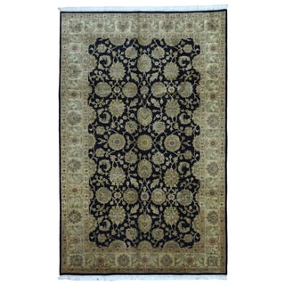 FineRugCollection Hand Knotted Fine Tabriz Navy Wool Oriental Rug (6' x 9')