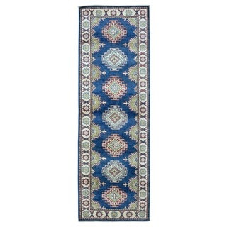 FineRugCollection Hand-knotted Pakistan Kazak Blue Wool Oriental Runner (2'9 x 8'4)