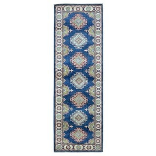 Fine Rug Collection Hand-knotted Pakistan Kazak Blue Wool Oriental Runner (2'9 x 8'4)