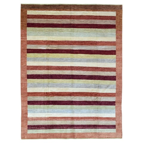 FineRugCollection Hand-knotted Gabbeh Multi-colored Wool Oriental Rug (7'6 x 9'9)