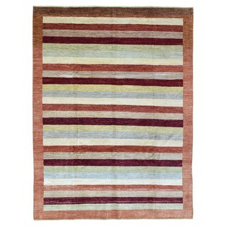 FineRugCollection Hand Knotted Gabbeh Multi-Colored Wool Oriental Rug (7'6 x 9'9)