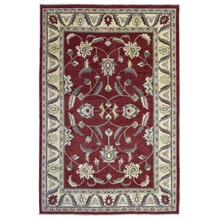 FineRugCollection Hand Knotted Pakistan Peshawar Burgundy Wool Oriental Rug (6'10 x 10')