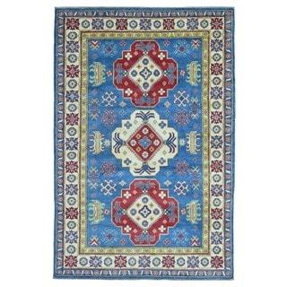 FineRugCollection Hand Knotted Pakistan Kazak Blue Wool Oriental Rug (6'1 x 9')