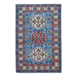 FineRugCollection Hand Knotted Pakistan Kazak Blue Wool Oriental Rug (4' x 5'10)