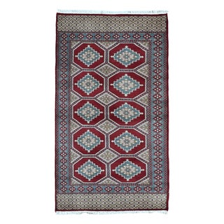 Fine Rug Collection Hand-knotted Bukhara Red Wool Oriental Rug (3' x 5'1)