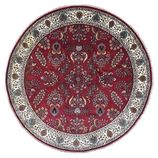 FineRugCollection Hand Knotted Sarouk Red Wool Oriental Rug (8'7 x 8'7)