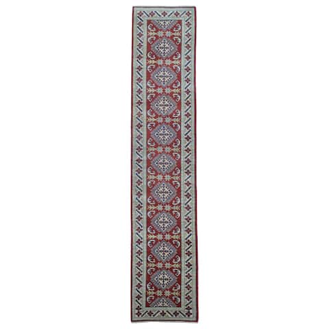"FineRugCollection Handmade Pakistan Kazak Red Wool Oriental Runner Rug - 2'7"" x 12'7"""