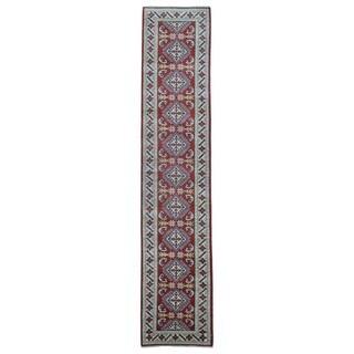 FineRugCollection Hand Knotted Pakistan Kazak Red Wool Oriental Rug (2'7 x 12'7)