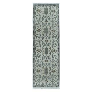 Fine Rug Collection Handmade Oushak Beige Wool Oriental Runner (2'6 x 9'7)