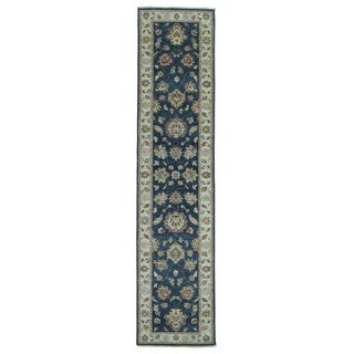 FineRugCollection Hand Knotted Peshawar Navy Wool Oriental Rug (2'8 x 11'7)