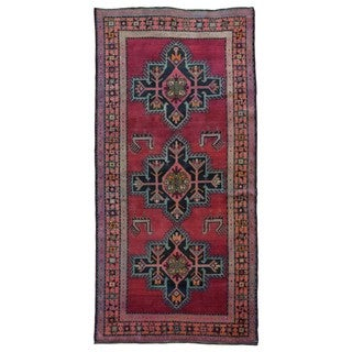 FineRugCollection Hand-knotted Semi-antique Persian Kazak Red Wool Oriental Runner (4'9 x 9'5)
