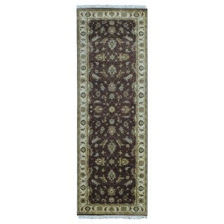 FineRugCollection Hand-knotted Peshawar Brown Oriental Runner (2'8 x 7'10)
