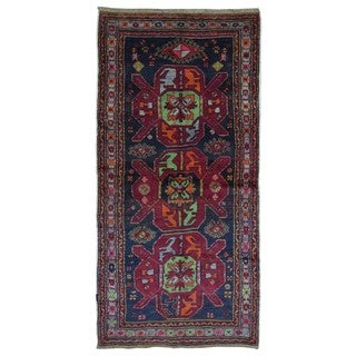 FineRugCollection Hand-knotted Semi-antique Persian Kazak Red Wool Oriental Runner (4'3 x 8'9)