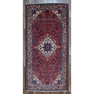 FineRugCollection Hand Knotted Semi-Antique Persian Hamadan Red Wool Oriental Rug (5' x 10'7)