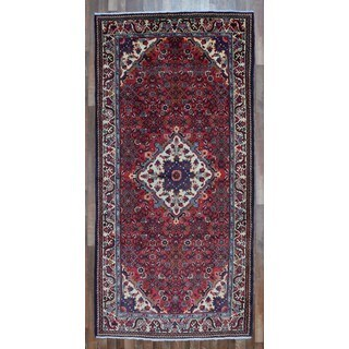 FineRugCollection Hand-knotted Semi-antique Persian Hamadan Red Wool Oriental Runner (5' x 10'7)