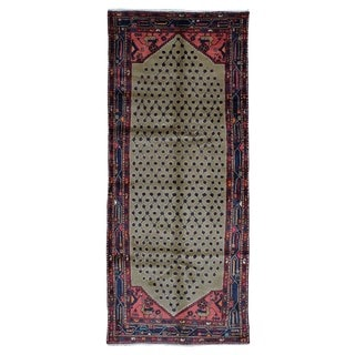 FineRugCollection Hand-knotted Semi-antique Persian Hamadan Brown Wool Oriental Runner (3'6 x 8'5)