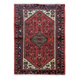 FineRugCollection Hand Knotted Semi-Antique Persian Hamadan Red Wool Oriental Rug (3'3 x 4'7)