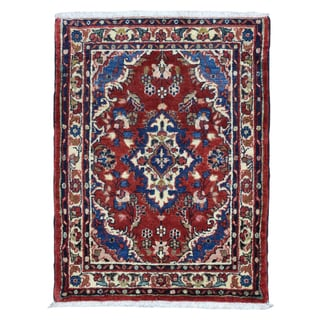 FineRugCollection Hand Knotted Semi-Antique Persian Hamadan Red Wool Oriental Rug (2'2 x 3')