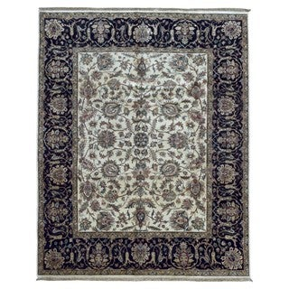 Fine Rug Collection Hand-knotted Very Fine Tabriz Navy Wool Oriental Rug (8' x 10')