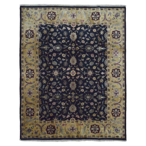 FineRugCollection Hand-knotted Very Fine Tabriz Navy Wool Oriental Rug (8' x 10')