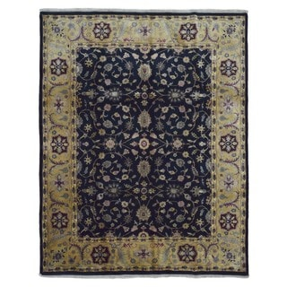 FineRugCollection Hand Knotted Very Fine Tabriz Navy Wool Oriental Rug (8' x 10')