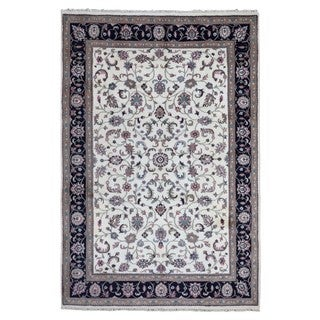 FineRugCollection Hand Knotted Kashan Beige Wool Oriental Rug (6' x 9')
