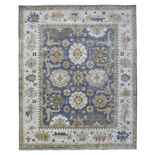 FineRugCollection Hand Knotted Oushak Blue Wool Oriental Rug (8' x 9'8)