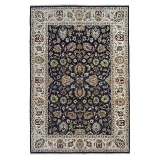 FineRugCollection Hand-knotted Fine Kashan Navy Wool Oriental Rug (6'2 x 9')