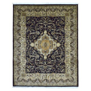 FineRugCollection Hand Knotted Very Fine Tabriz Navy Wool Oriental Rug (7'8 x 9'7)